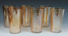 Jeanette Glass Inverted Coil Swirl Marigold Carnival Glass Tumblers
