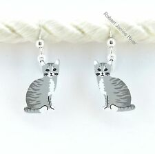 Sienna Sky Gray Tabby Cat  Earrings
