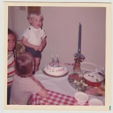 Square Vintage 70s PHOTO Toddler Boy & Friends w/ 2 Year-Old Birthday Cake