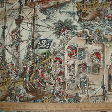 Cotton Fabric Alexander Henry SKELEWAGS Pirates Skeletons Ship Jolly Roger BTY