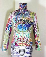 Vintage GIANNI VERSACE Classic Floral Colorful Cotton Zip Jacket Suit S 4 5 6