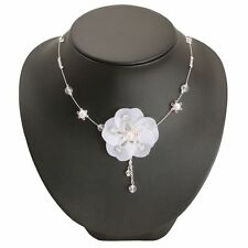 BRAND NEW WHITE FABRIC FLOWER WIRE STATEMENT NECKLACE - BRIDAL / WEDDING