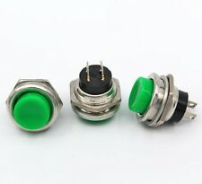 5pcs DS-212 16mm 3A 125V Switch Push Round Button No Lock Reset Green