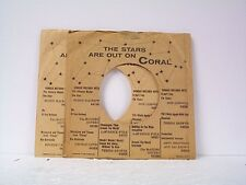 2-CORAL RECORD COMPANY 45's SLEEVES  LOT # A-383