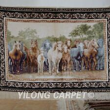 Yilong 3'x4' Handmade Silk Persian Rug Living Room Pictorial Horse Tapestry 1201