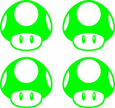"2"" 4pack Lime Green Super Mario Brothers Mushroom Sticker Nintendo nes original"
