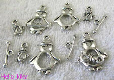 25sets Tibetan silver penguin toggle clasps+drops A5211