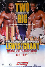 LENNOX LEWIS vs. MICHAEL GRANT / Original Budweiser Closed Circuit Boxing Poster