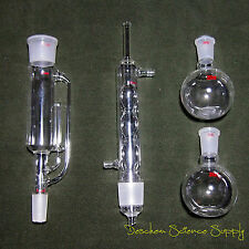 250ml,24/40,Glass soxhlet extractor body & Allihn condenser,2 Flat Bottom Flasks