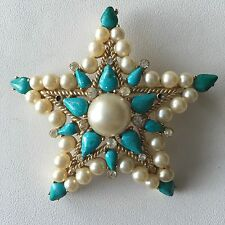 Vintage Signed Crown Trifari Faux Pearl Turquoise Crystal  Pin Brooch Star Large