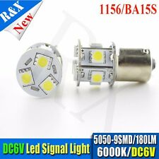 2X 1156 White Ba15s 5050 9 SMD LED DC6V Light Bulb Lamp Turn Signal Lights 6000K