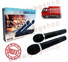 DJ PRO TWIN/DUAL WIRELESS MICROPHONE SET SYSTEM +RECEIVER KARAOKE 2 x MIC WR-306
