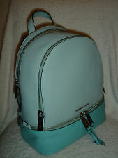 MICHAEL Kors Rhea Medium Backpack Zip Colorblock Leather Bag CELAND/ AZURE