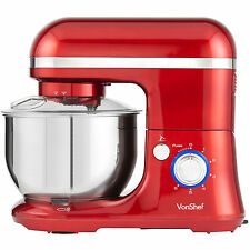 VonShef Stand Mixer Food Blender Pro Electric Machine with Splash Guard - Red