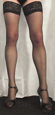 Extra Long Black 15 Denier Satin Sheen Lace Top Hold Up Stockings High Quality