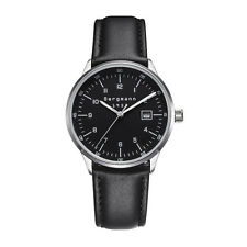 Bergmann Brand Bauhaus Classic Men Watches Black Dial Black Leather Date 1957