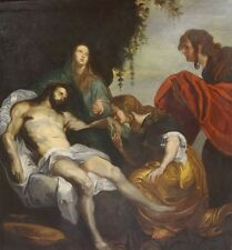 Huge Fine17th 18th Century Italian Old Master Lamentation Christ Oil Painting
