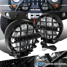 "2x 6"" 4X4 Round Black/Clear Work Fog Light+H3 Bulbs+Wiring Kit+Protect Guard"