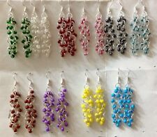 Wholesale! 10 Pairs czech Glass bead chainmaille earrings with sterling silver