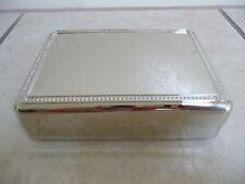 New Elegant Silver Tone Polished Square Jewelry or Trinket Box Great Gift