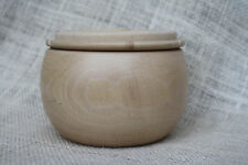 "3.5"" Sycamore Wood Handcrafted Art Pottery Bowl Reversible Lid Signed ESPO90.com"