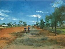 'Going Home' Original Oil Painting on Canvas Dusan Country Road Outback Town