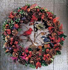 """Winter Birds Wreath w/ Fiber-Optic Lights & Berries, Acorns & Pinecones 15""""Dia"""