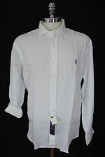 Polo Ralph Lauren 100% Linen L/S Shirt White w/Navy Logo Sz MEDIUM MSRP $125