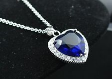 20 pic Silver Titanic Rose Heart Of The Ocean Sapphire Crystal Necklace Pendants