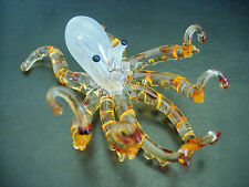Glass OCTOPUS, SQUID, 8 Legged Sea Creature, Orange Glass, Colourful Ornament