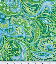 Green Blue Paisley Cotton Fabric by the HALF YARD