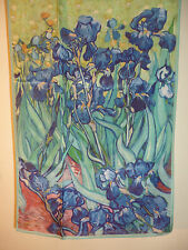 Crepe de chine long silk scarf Print of Van Gogh Irises Blue/green   NEW