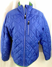 Women's Lands' End Primaloft Winter Jacket Size Medium M Blue w Green Trim 10 12