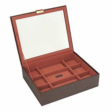 Stackers Jewellery Men's Casual Brown 15pc Glass Lidded Watch Box with Orange Li