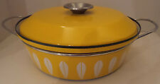 CATHERINEHOLM Norway MCM Yellow Lotus Enameled Metalware Covered Casserole