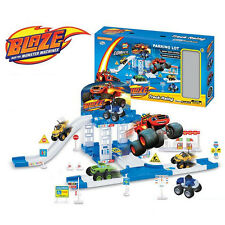 Hot Blaze and the Monster Machines Vehicles Racer Car Truck Parking Lot Kids Toy