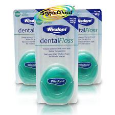 3x Wisdom Dental Floss Waxed Mint 100m