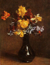 Stunning Oil painting Henri Fantin Latour - Vase of Flowers in vase handpainted