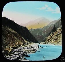 Glass Magic Lantern Slide AMSTEG FROM THE REUSS BRIDGE C1890 SWITZERLAND