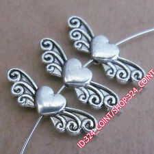 P197 20pc Tibetan Silver Love Heart Angel wings Spacer Beads retro Wholesale