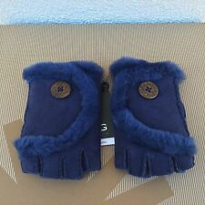 UGG PEACOAT MINI BAILEY BUTTON FINGERLESS SUEDE SHEARLING GLOVES ~SMALL ~ NWT