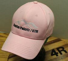 WOMENS HAMILTON MONTANA POLARIS / KTM HAT SNOWMOBILE ATV PINK VELCRO ADJUST VGC