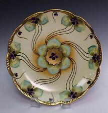 "Pickard Hand Painted Artist Signed Swirling Gold and Violet Pansies 8 3/4"" Plate"