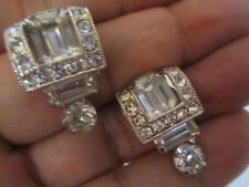 EISENBERG Magnificent Vintage Emerald Cut Rhinestone Tiny pave Earrings --79