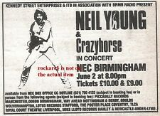 NEIL YOUNG UK TIMELINE Advert - Birmingham Tues-2-June-1987 2x3 inches