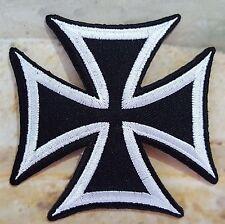 Ecusson Patch thermocollant brodé CROIX DE MALTE, Moto, Biker - noir et blanc