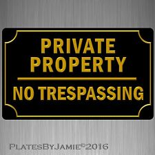 "Private Property No Trespassing Sign 8"" x 12""  3D Lettering Font Outline New"