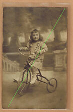 Carte Photo vintage card RPPC enfant garçon Robert tricycle bicyclette pz0381