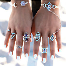 Set of 8 Vintage Style Boho Turkish Beach Punk Geometric Knuckle Rings Silver