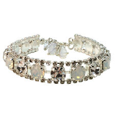 Bridal Rhinestone White Opal Chaton Bracelet with Crystals from Swarovski